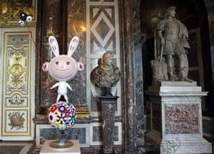 Murakami at Versailles: A sculpture by Japanese artist Takashi Murakami entitled Kaikai on display