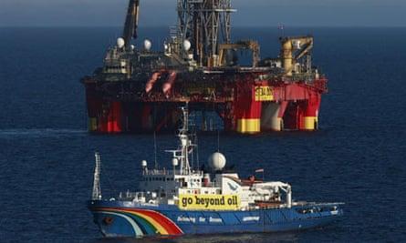 the Greenpeace ship Esperanza patrols around Cairn Energy's Stena Don drilling rig.