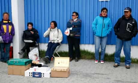 Hawkers on the streets of Nuuk.