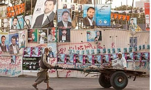 Election posters displayed in Herat, Afghanistan