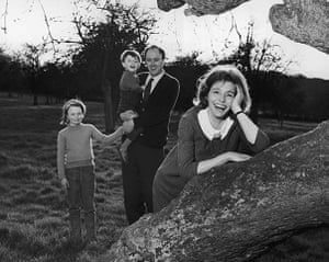 Roald Dahl Day: Patricia Neal with Roald Dahl and their children outside their house.