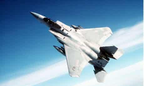 Air-to-air view of an F-15 Eagle aircraft