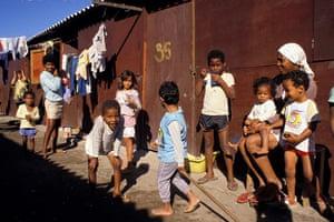 MDG: Millennium development goals Children play in shantytown in Rio de Janeiro