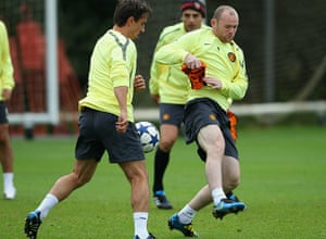 24 hours in sport: Rooney in actioon during a Manchester United Training Session