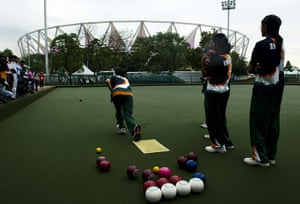 24 hours in sport: The Indian lawn ball team practices at Jawaharlal Nehru Stadium