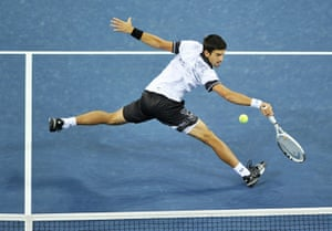 tennis1: Novak Djokovic of Serbia returns a shot