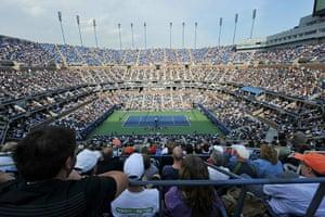 tennis2: General view of Arthur Ashe Stadium duri