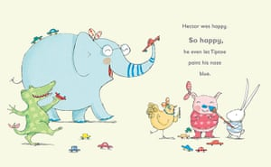 Happy Hector by Polly Dunbar (part of the Tilly and Friends series, Walker Books, 2008)