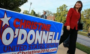 Christine O'Donnell walks away after voting in the Delaware primary in Wilmington
