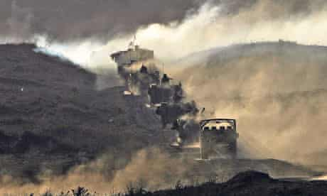 Israeli army vehicles on a training exercise in the Golan Heights, 2007