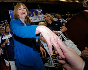 Tea Party politicians: US Republican Senate candidate Sharron Angle greets supporters