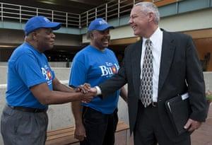Tea Party politicians: Campaign volunteers talk with US Senate Republican candidate Ken Buck