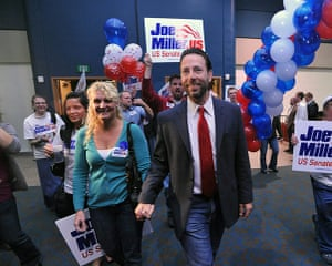 Tea Party politicians: Republican candidate for US Senate Joe Miller and his wife Kathleen