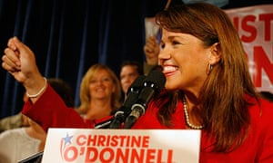 Christine O'Donnell addresses supporters in Dover, Delaware