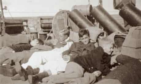 Benares survivors rescued by HMS Hurricane.
