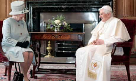 The Queen talks with Pope Benedict XVI at the Palace of Holyroodhouse in Edinburgh