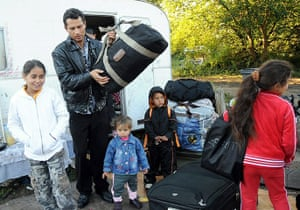 Roma Return : People belonging to the Roma community carry luggages to Lesquin airport