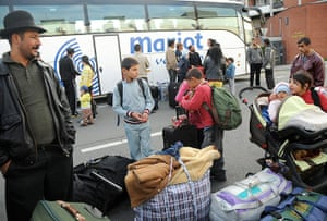 Roma Return : People belonging to the Roma community gather with their luggages