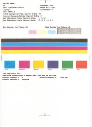 HP printer test page