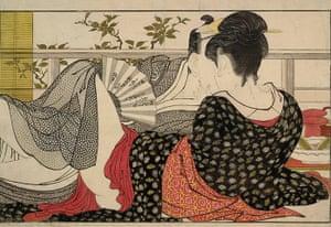 Kitagawa Utamaro: Lovers in the Upstairs Room of a Teahouse by Kitagawa Utamaro