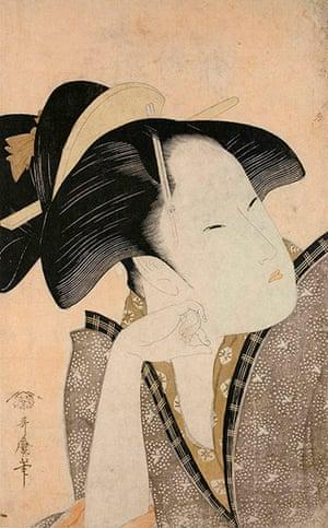 Kitagawa Utamaro: Reflective Love (c1793-4) by Kitagawa Utamaro