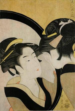 Kitagawa Utamaro: Okita checking her makeup in a full-length mirror by Kitagawa Utamaro
