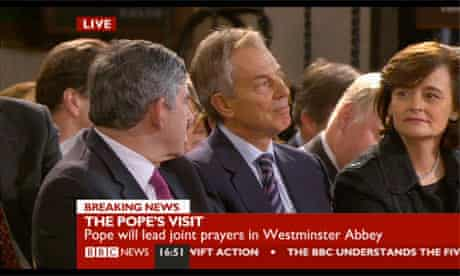 Brown and Blair wait for the pope at Westminster Hall
