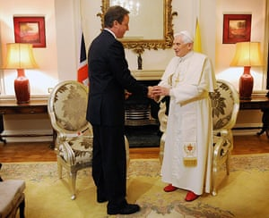 Pope in London: Pope Benedict XVI with David Cameron
