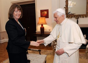 Pope in London: Acting Labour Party leader Harriet Harman is welcomed by Pope Benedict XVI