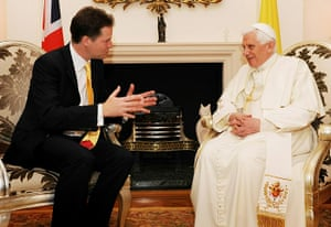 Pope in London: Pope Benedict XVI attends a meeting with Deputy Prime Minister Nick Clegg