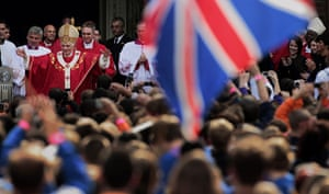 Pope Day 2: Pope Benedict XVI greets crowds gathered outside Westminster Cathedral