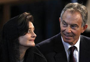Pope Day 2: Tony Blair and his wife Cherie at a mass officiated by Pope Benedict XVI