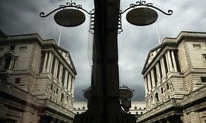 Bank of England seen through shop window