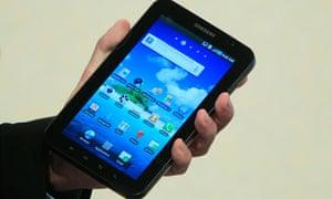 Head of Samsung Europe Richter presents Samsung Galaxy Tab at IFA in Berlin