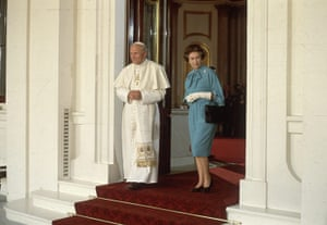 Pope 1982 Visit: Pope John Paul II with Queen Elizabeth II at Buckingham Palace