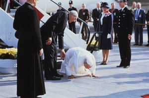 Pope 1982 Visit: Pope John Paul II Kisses Tarmac at Gatwick Airport