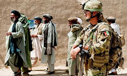 British forces conducting a routine patrol around Sangin bazaar