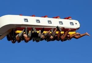 Oktoberfest in Munich: Visitors ride a fun ride during day two of the Oktoberfest