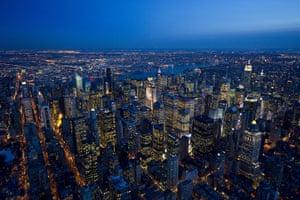 Aerial Views Of New York : Aerial Views Of New York At Night