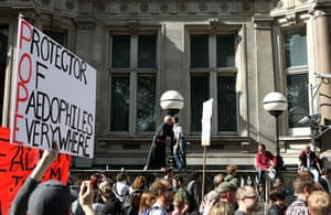 Pope Protestor: Protest against the Pope's state visit to the UK
