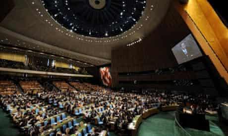 Ban Ki-moon speaks during the Millennium Development Goals Summit.