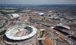 Aerial view of the London Olympics site