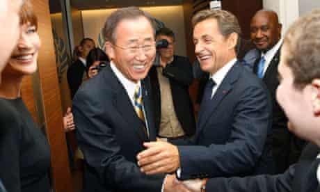 Ban Ki-moon, Nicolas Sarkozy, Carla Bruni