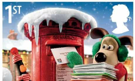 Christmas stamps featuring Wallace and Gromit