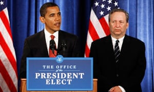 Larry Summers flanks Barack Obama