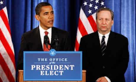 Larry Summers flanks Barack Obama