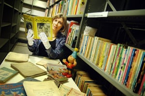 Collection director Sarah Lawrance, with Enid Blyton's original archive