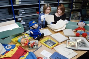 Sarah Lawrance  and Alison Coapes look through the Blyton archive