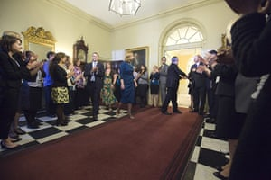 Martin Argles Brown: Gordon Brown says farewell to civil servants inside 10 Downing Street
