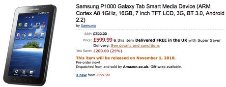 Amazon list Samsung Galaxy Tav